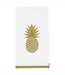 Toallas desechables de papel con diseño de piña, organizador en tono dorado (Set de 32)