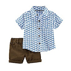 image of carter's® 2-Piece Whale Shirt and Short Set in Blue