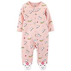 carter's® Unicorn Sleep and Play Zip-Up Footie in Pink