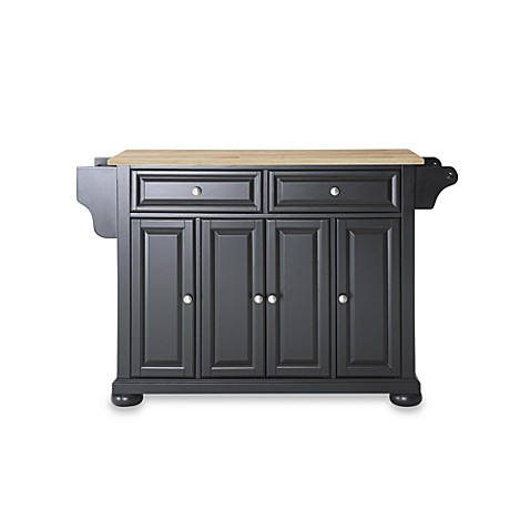 Crosley Alexandria Natural Wood Top Kitchen Island in Black