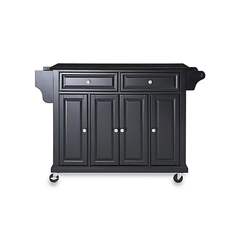 Crosley Rolling Kitchen Cart / Island with Solid Black Granite Top in Black