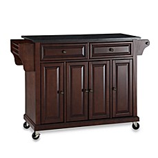 image of crosley rolling kitchen cart island with solid black granite top