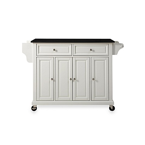 Buy Crosley Rolling Kitchen Cart Island With Solid Black Granite Top In White From Bed Bath