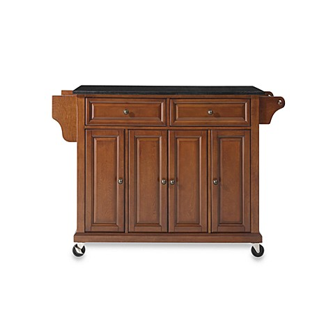 Buy Crosley Rolling Kitchen Cart Island With Solid Black Granite Top In Cherry From Bed Bath