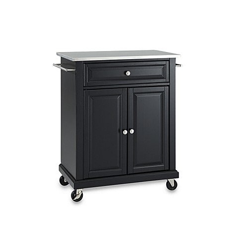 Crosley Stainless Top Rolling Portable Kitchen Cart Island Bed Bath Beyond