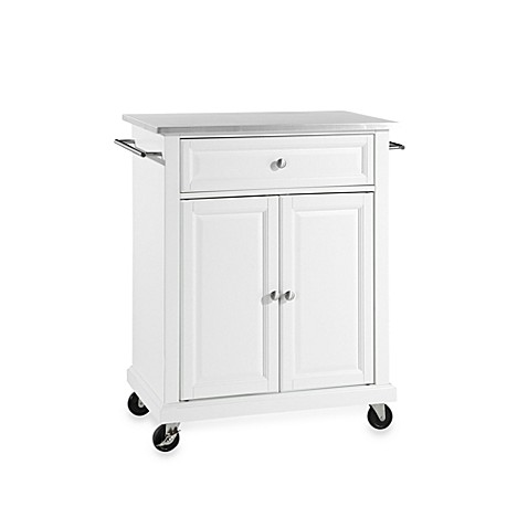 Buy Crosley Stainless Top Rolling Portable Kitchen Cart Island In White From Bed Bath Beyond