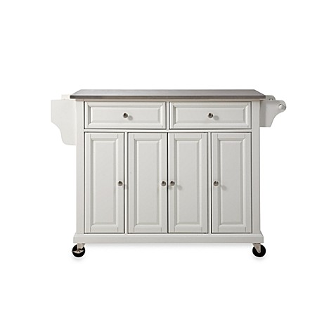 crosley rolling kitchen cart island with stainless steel top bed bath beyond. Black Bedroom Furniture Sets. Home Design Ideas