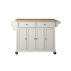 image of Crosley Natural Wood Top Rolling Kitchen Cart/Island