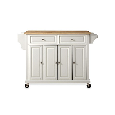 Crosley Natural Wood Top Rolling Kitchen Cart/Island in White