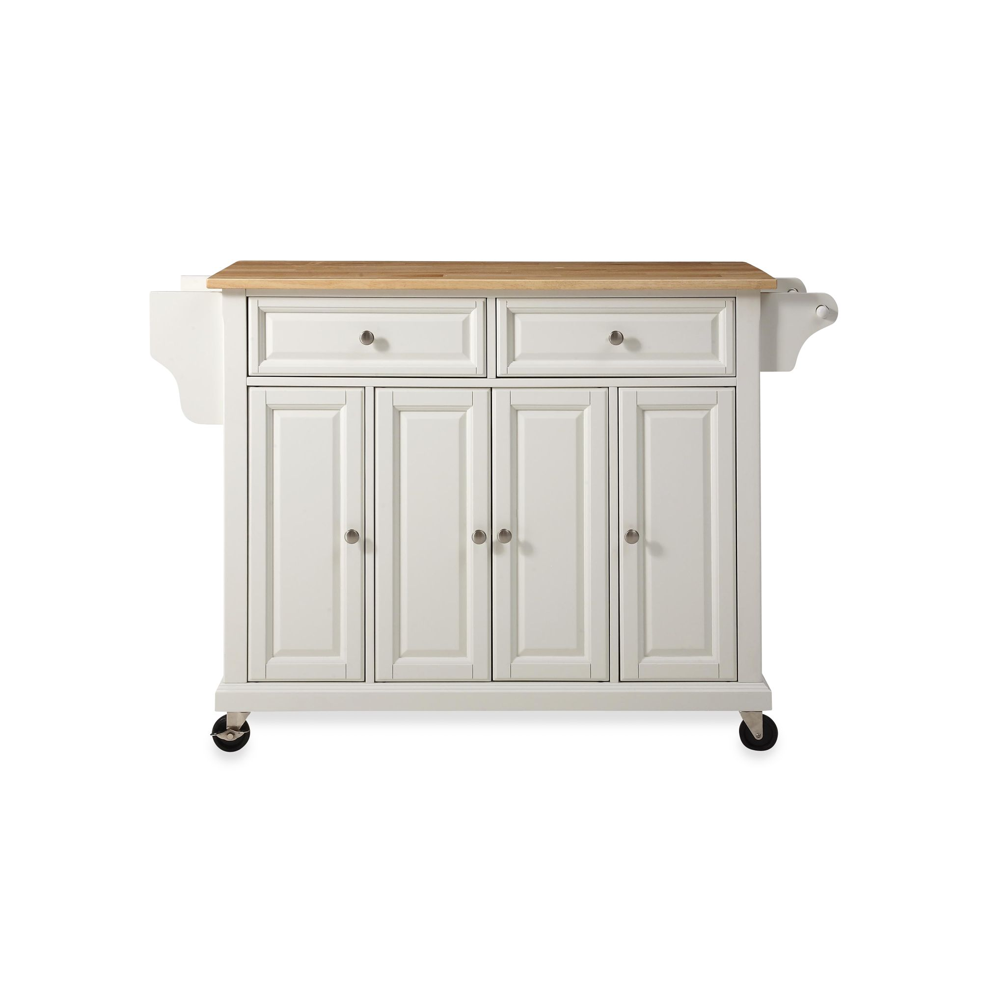 Crosley Natural Wood Top Rolling Kitchen Cart Island Bed Bath