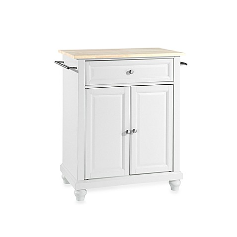 Buy Crosley Cambridge Natural Wood Top Portable Kitchen Island In White From Bed Bath Beyond