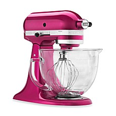 image of KitchenAid® 5-Quart Artisan® Design Series Stand Mixer with Glass Bowl in Raspberry