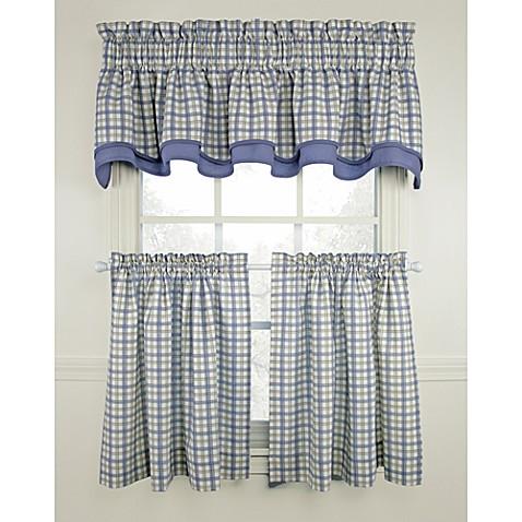 Bristol Plaid Window Curtain Tiers Blue 100 Cotton