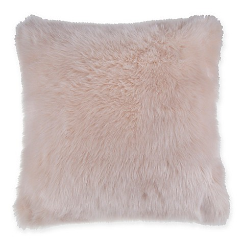 BBB Fluffy Faux Fur Square Throw Pillow in Blush