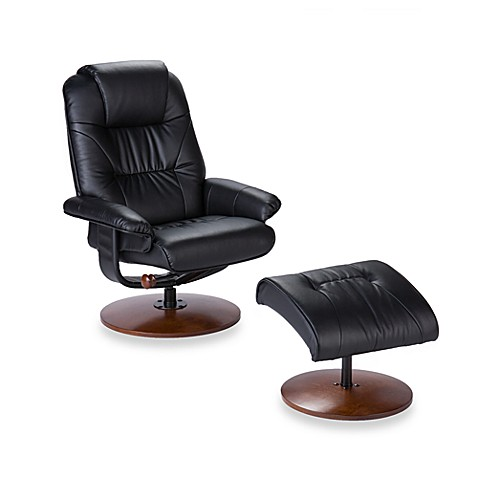 Modern Leather Recliner and Ottoman Set in Black