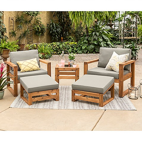 Forest Gate 5 Piece Patio Conversation Set In Brown