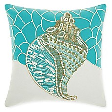 image of Mina Victory by Nourison Conch Shell Square Pillow in Turquoise