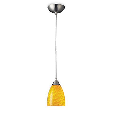 ELK Lighting 1- Light Pendant in Satin Nickel with Canary Glass