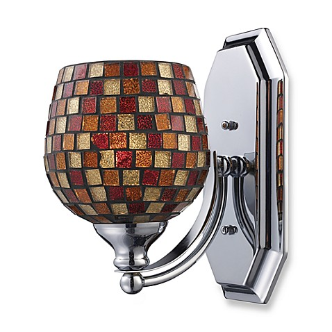 ELK Lighting 1-Light Vanity Fixture in Polished Chrome and Multi Mosaic Glass