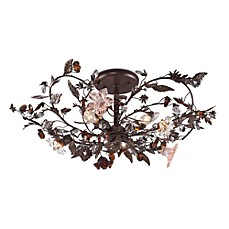 image of ELK Lighting Cristallo Fiore 3-Light Semi Flush In Deep Rust And Hand Blown Florets
