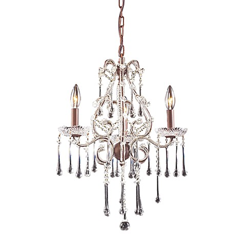 ELK Lighting Opulence 3-Light Chandelier in Rust and Clear Crystal