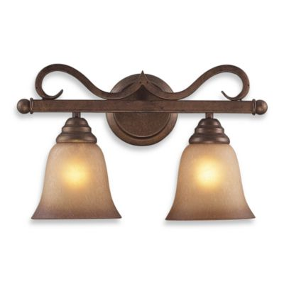 ELK Lighting Lawrenceville 2-Light Vanity In Mocha And Antique Amber Glass - Bed Bath & Beyond
