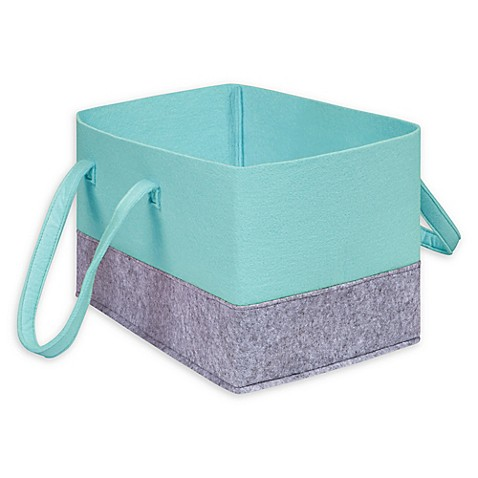Sammy U0026 Lou Felt Essential Storage Tote In Pale Aqua/Light Grey