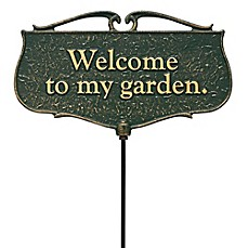 "image of Whitehall Products ""Welcome to my Garden"" Outdoor Garden Sign in Green/Gold"