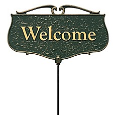 "image of Whitehall Products ""Welcome"" Outdoor Garden Sign in Green/Gold"