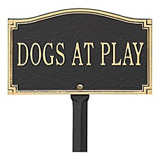 "image of Whitehall Products ""Dogs at Play"" Outdoor Garden Sign in Black/Gold"