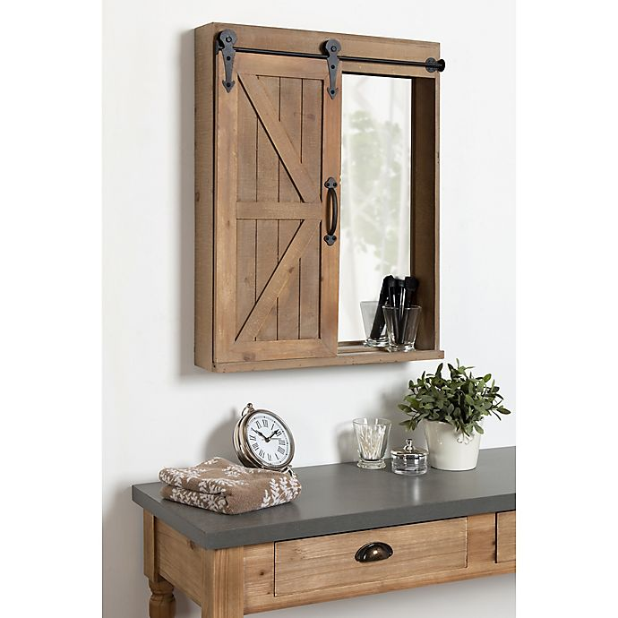 Kate And Laurel Cates Decorative Wood Wall Storage Cabinet And Vanity Bed Bath Beyond