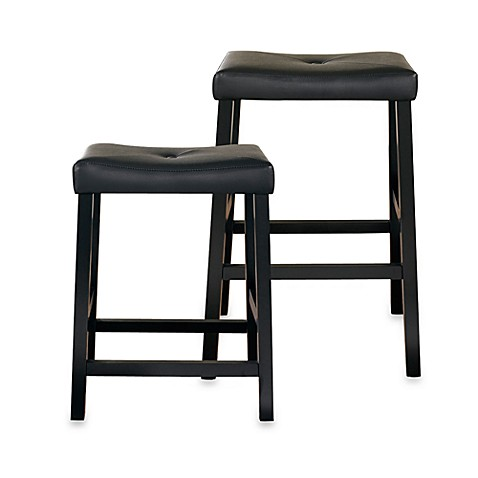 Crosley Upholstered Saddle Seat Bar Stools In Black Set