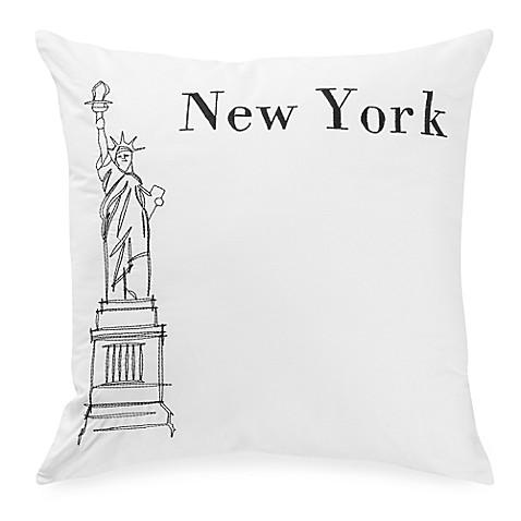 Passport postcard new york square throw pillow in black white