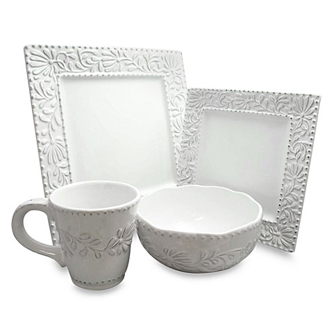 Buy Bianca Leaf 16 Piece Square Dinnerware Set From Bed