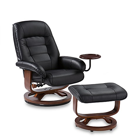 Southern Enterprises Bay Hill Modern Leather Recliner and Ottoman Set