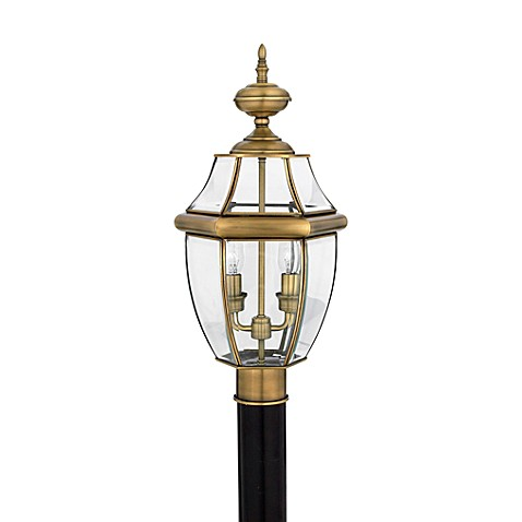 Buy Quoizel Newbury 2 Light Outdoor Post Fixture In Antique Brass From Bed B