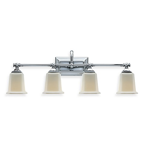 Buy quoizel nicholas 4 light polished chrome bath fixture w opal etched glass shades from bed for Chrome bathroom light fixtures