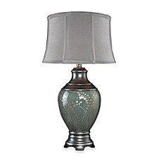 image of Dimond Lighting Hand Painted Pinery Green Ceramic Table Lamp