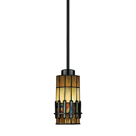 Bronze Pendant Lamp With Tiffany Glass Shade Bed Bath