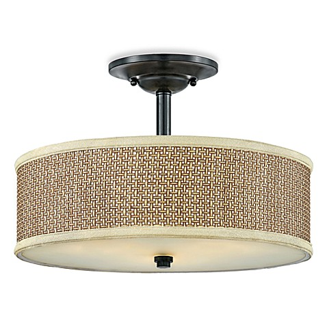 Zen Semi-Flush 3-Light Ceiling Light in Tan Rattan and Mystic Black