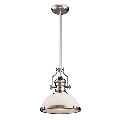 elk lighting chadwick 1 light pendant in satin nickel w
