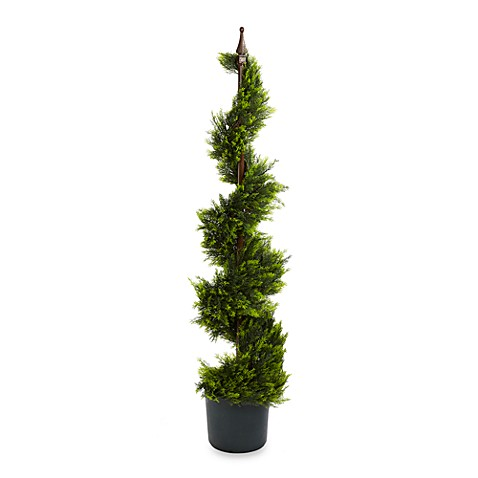 Nearly Natural Indoor/Outdoor 4-Foot Cypress Spiral Silk Tree
