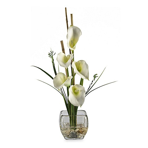 Nearly Natural Calla Lily Liquid Illusion Silk Arrangement in Cream