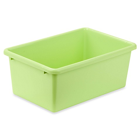 Buy honey can do small plastic storage bin in light green for Green bathroom bin