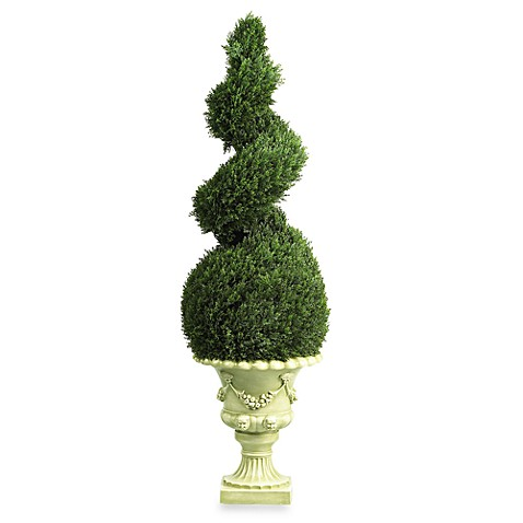 Nearly Natural 4-Foot Cedar Spiral Silk Topiary Tree