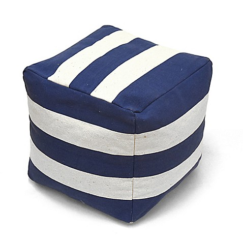 Urban Shop Square Striped Pouf in Navy