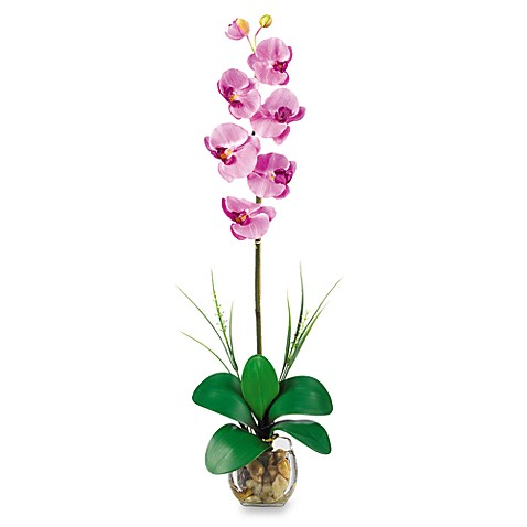 Nearly Natural Single Phalaenopsis Liquid Illusion Silk Flower Arrangement in Mauve