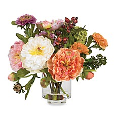 image of Nearly Natural Peony Silk Flower Arrangement