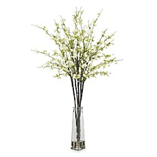 Image Of Nearly Natural Cherry Blossoms W Vase Silk Flower Arrangement In White