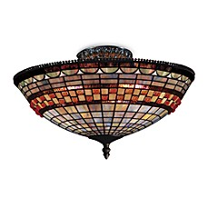 image of ELK Lighting Jewelstone 8-Inch Semi-Flush Fixture with 3-Lights